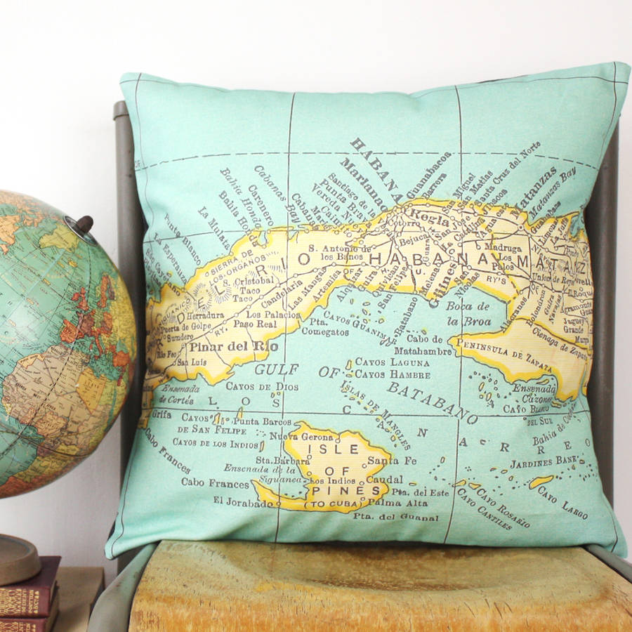 International destination personalised vintage map cushion cover