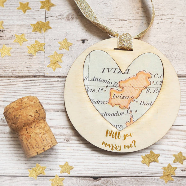'Will you marry me?' personalised map keepsake