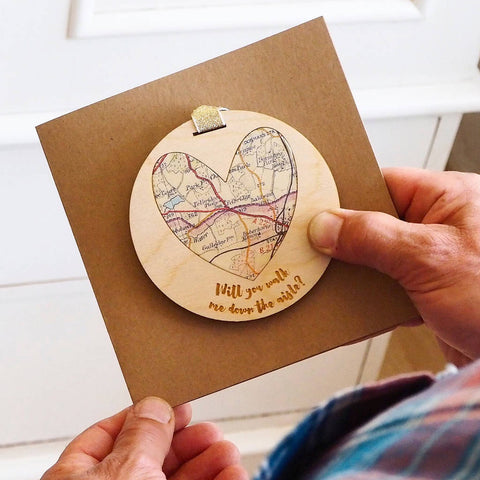 'Will you walk me down the aisle?' personalised map keepsake