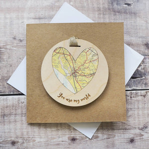 'You are my world' personalised map keepsake