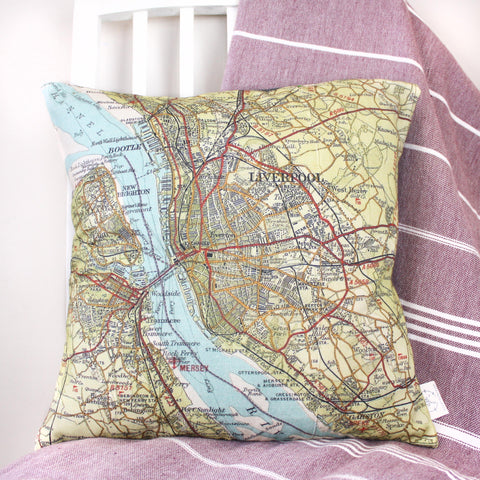 UK location personalised vintage map cushion cover