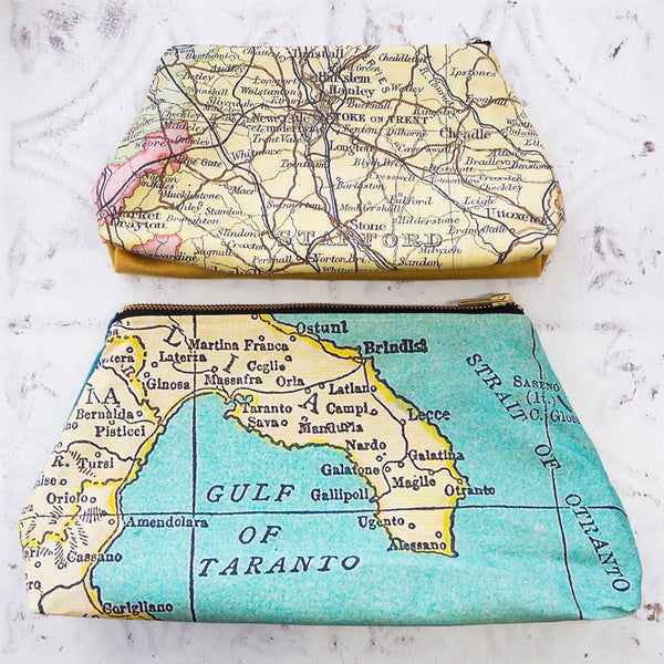 Wash bag with personalised map and cotton or velvet backing