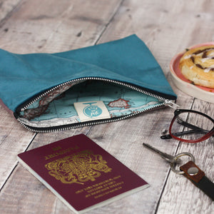 Small velvet clutch pouch with map lining