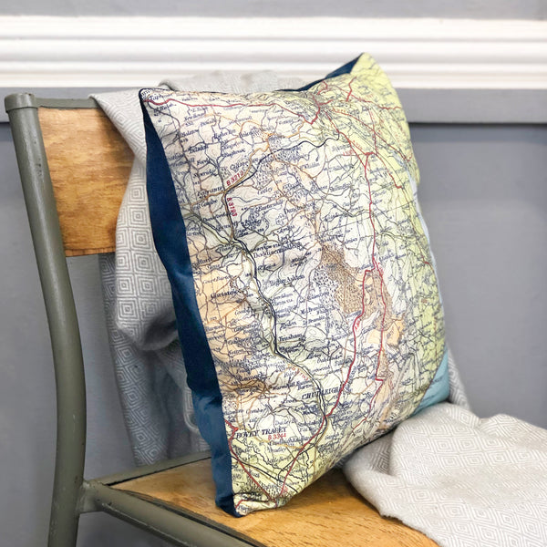 Personalised vintage map cushion cover with velvet backing