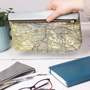 Large personalised map and velvet travel pouch