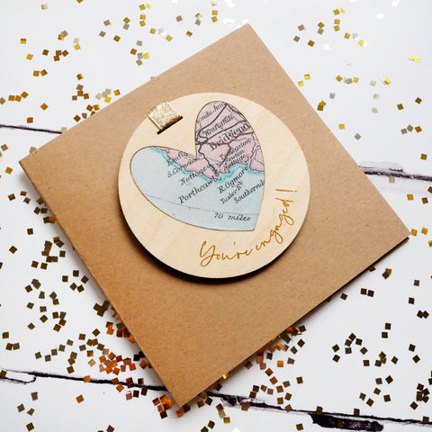 'You're engaged!' personalised map keepsake