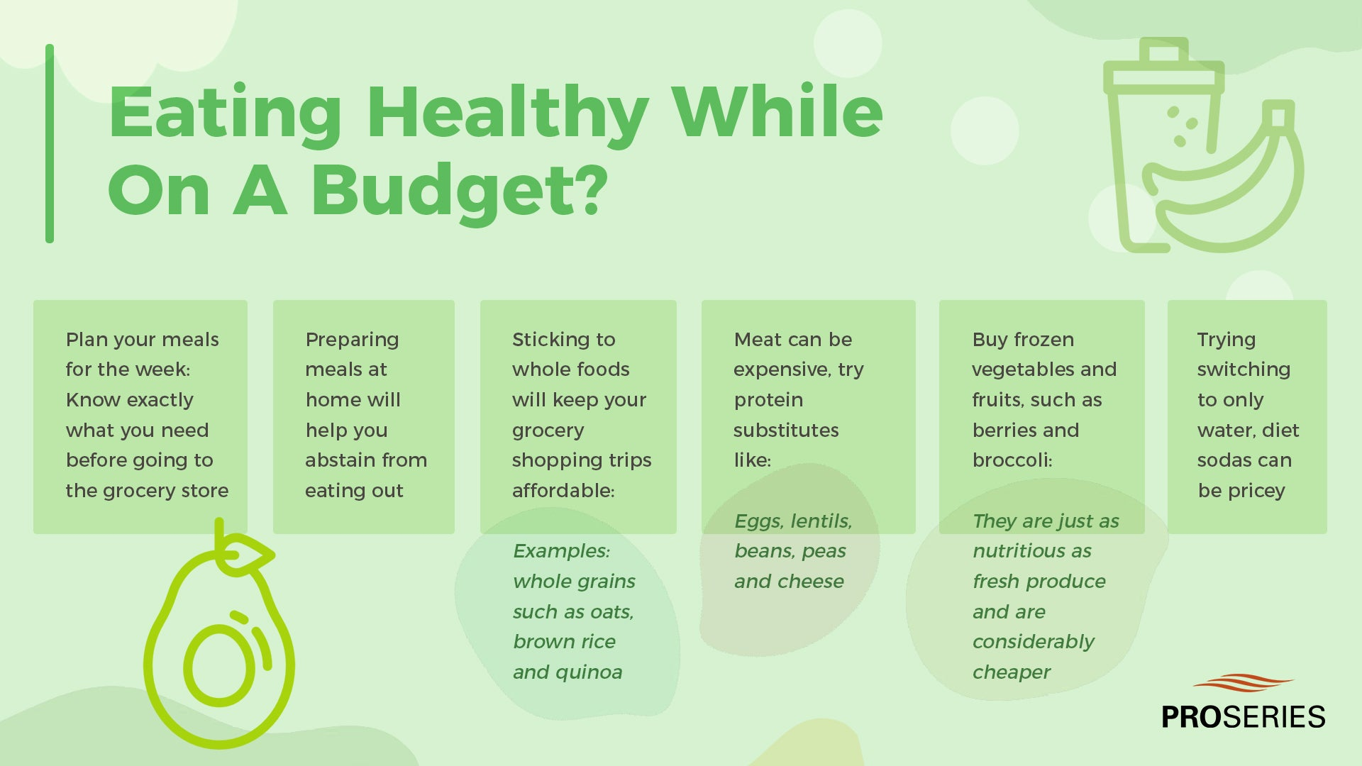 Eating Healthy While On A Budget? -Plan your meals for the week: This will help you know exactly what you need before going to the grocery store -Preparing meals at home will help you abstain from eating out -Sticking to whole foods will keep your grocery shopping trips -Examples: whole grains such as oats, brown rice, and quinoa -Meat can be expensive, try protein substitutes like: -Eggs, lentils, beans, peas and cheese -Buy frozen vegetables and fruits, such as berries and -They are just as nutritious as fresh produce and considerably cheaper -Trying switching to only water, diet sodas can be pricey