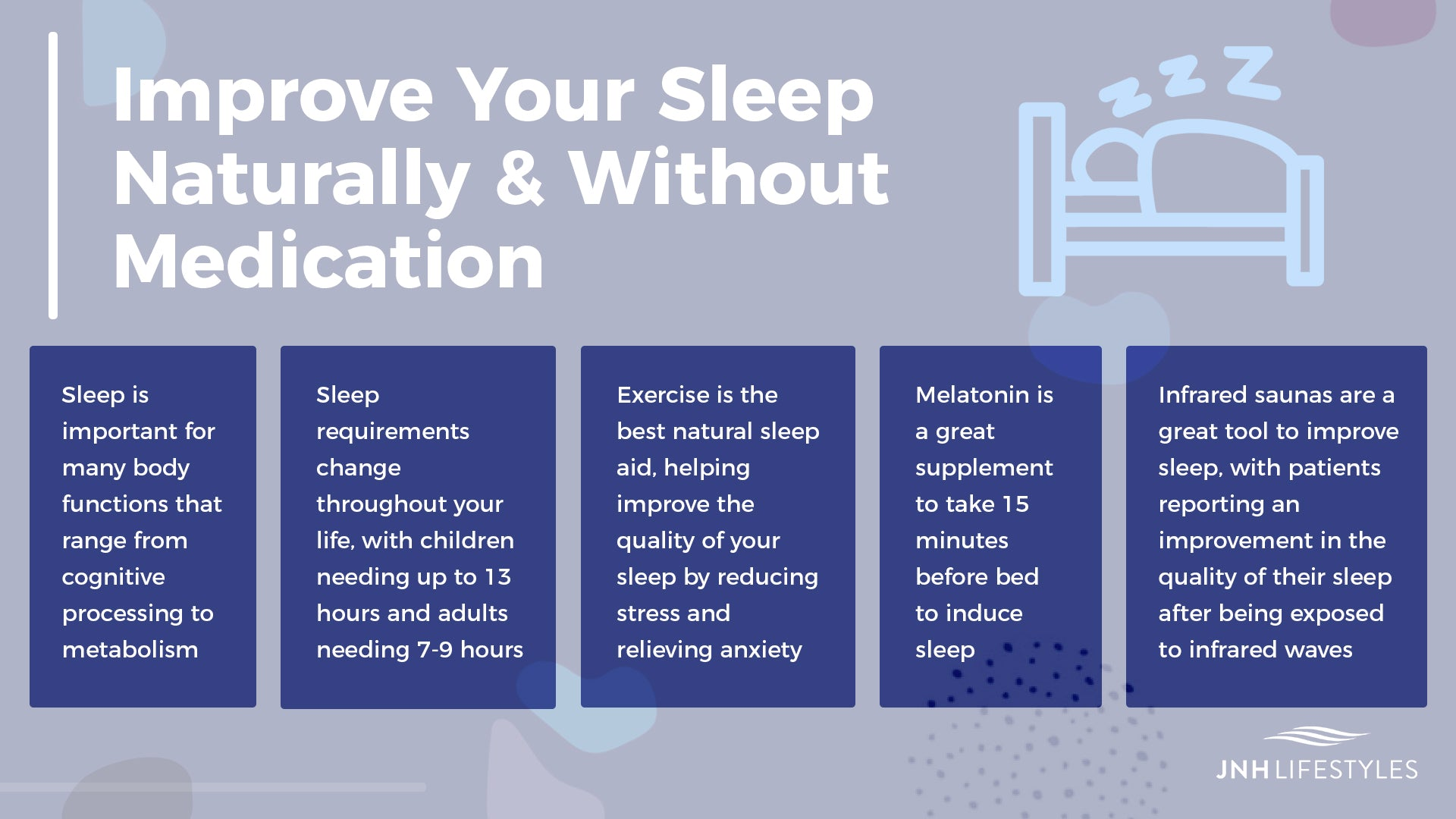 Improve Your Sleep Naturally & Without Medication -Sleep is important for many body functions that range from cognitive processing to metabolism -Sleep requirements change throughout your life, with children needing up to 13 hours and adults needing 7-9 hours -Exercise is the best natural sleep aid, helping improve the quality of your sleep by reducing stress and relieving anxiety -Melatonin is a great supplement to take 15 minutes before bed to induce sleep -Infrared saunas are a great tool to improve sleep, with patients reporting an improvement in the quality of their sleep after being exposed to infrared waves