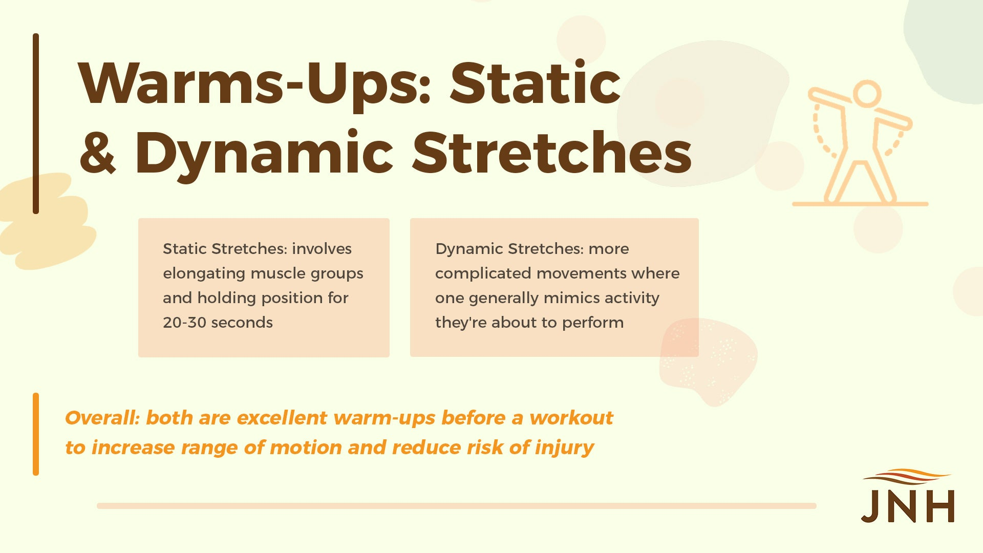 Warms-Ups: Static & Dynamic Stretches 1. Static Stretches: involves elongating muscle groups and holding position for 20-30 seconds 2. Dynamic Stretches: more complicated movements where one generally mimics activity they're about to perform 3. Overall: both are excellent warm-ups before a workout to increase range of motion and reduce risk of injury
