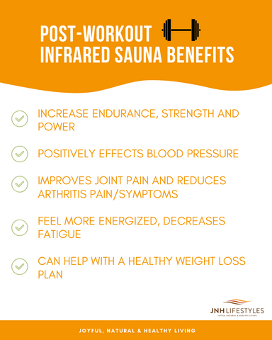 Post-Workout Infrared Sauna Benefits, Increase Endurance, Strength and Power, Positively effects blood pressure, improves joint pain and reduces arthritis pain/symptoms, feel more energized, decreases fatigue, can help with a healthy weight loss plan