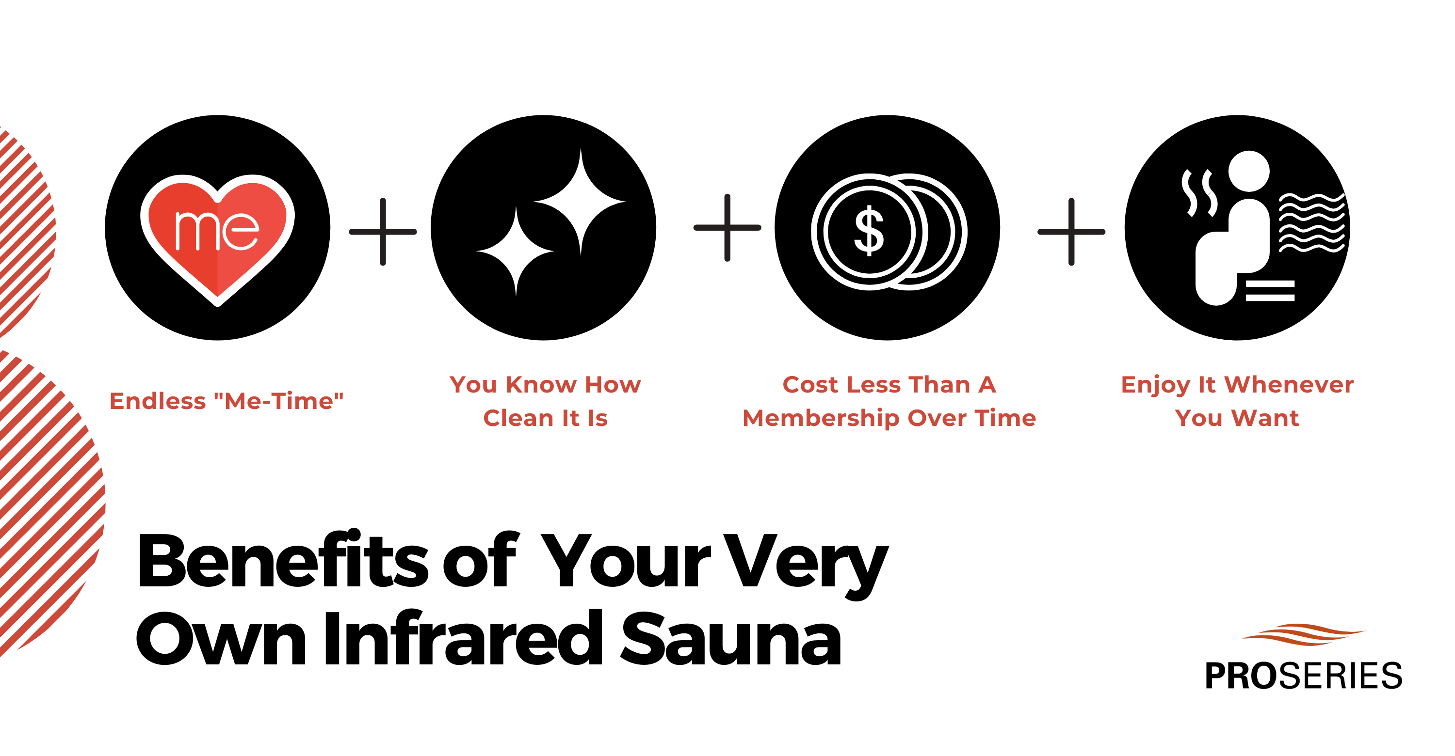 "Benefits of your very own infrared sauna: Endless ""Me-Time"", You know how clean it it, cost less than a membership over time, enjoy it whenever you want"