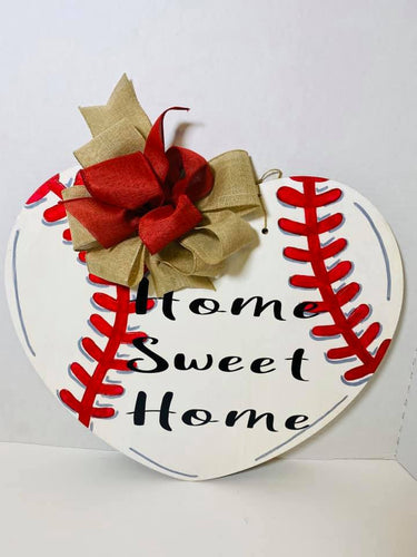 Home Sweet Home Baseball Heart Door Hanger