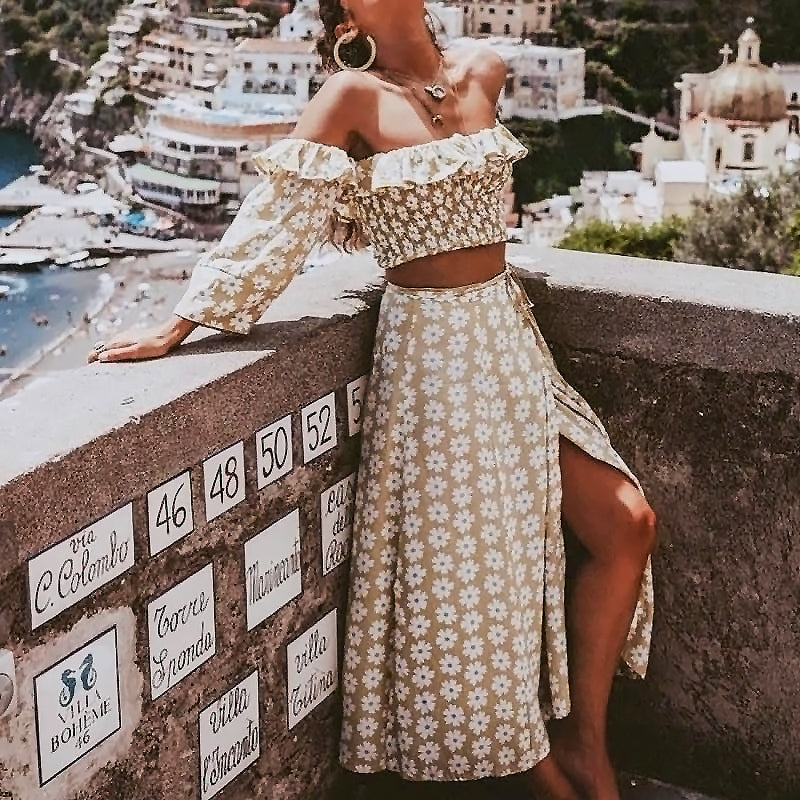 Beige Daisy Off Shoulder Shirred Two Piece Set