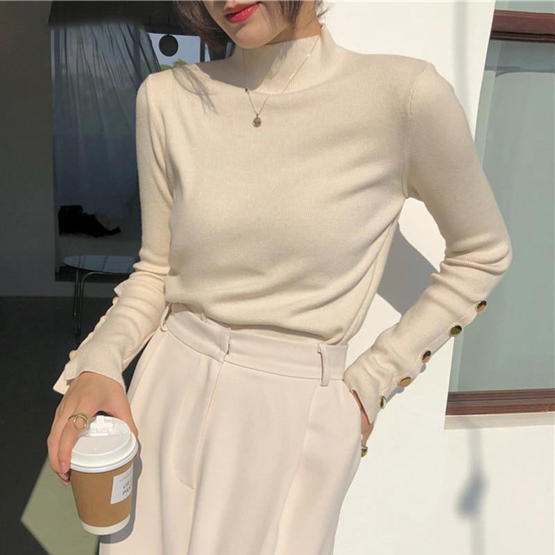 Button Sleeves Mock Neck Sweater