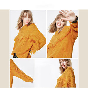 Loose Fit Fringe Knitted Sweater