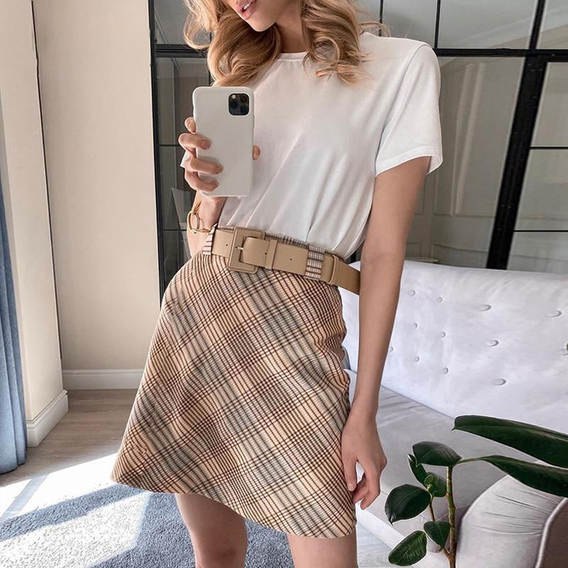 Coffee Plaid A-Line Skirt