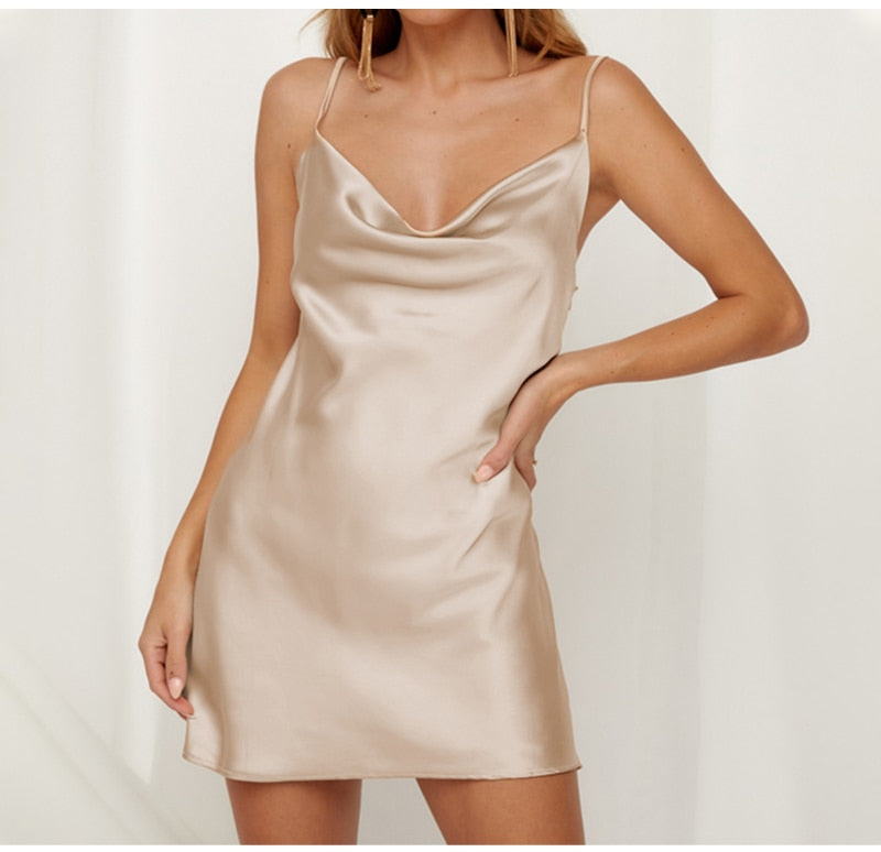Cowl Neck Satin Short Dress - Champagne