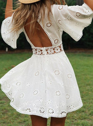 Daisy White Broderie Backless Dress