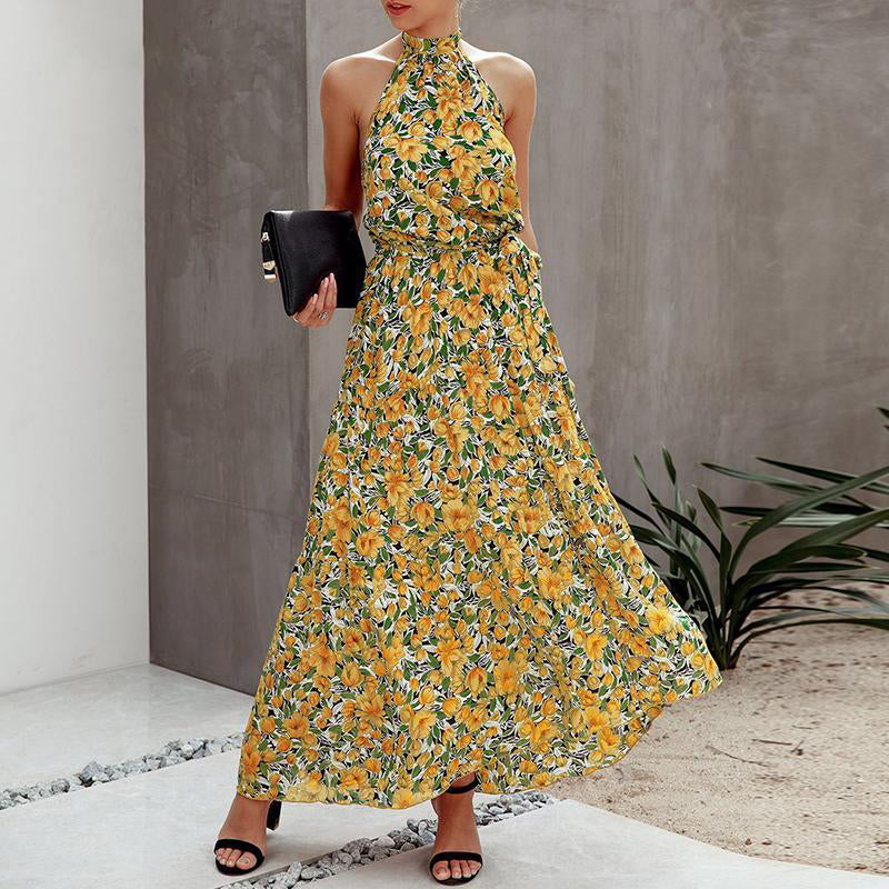 Floral Bliss Halter Maxi Dress | Tropical Yellow