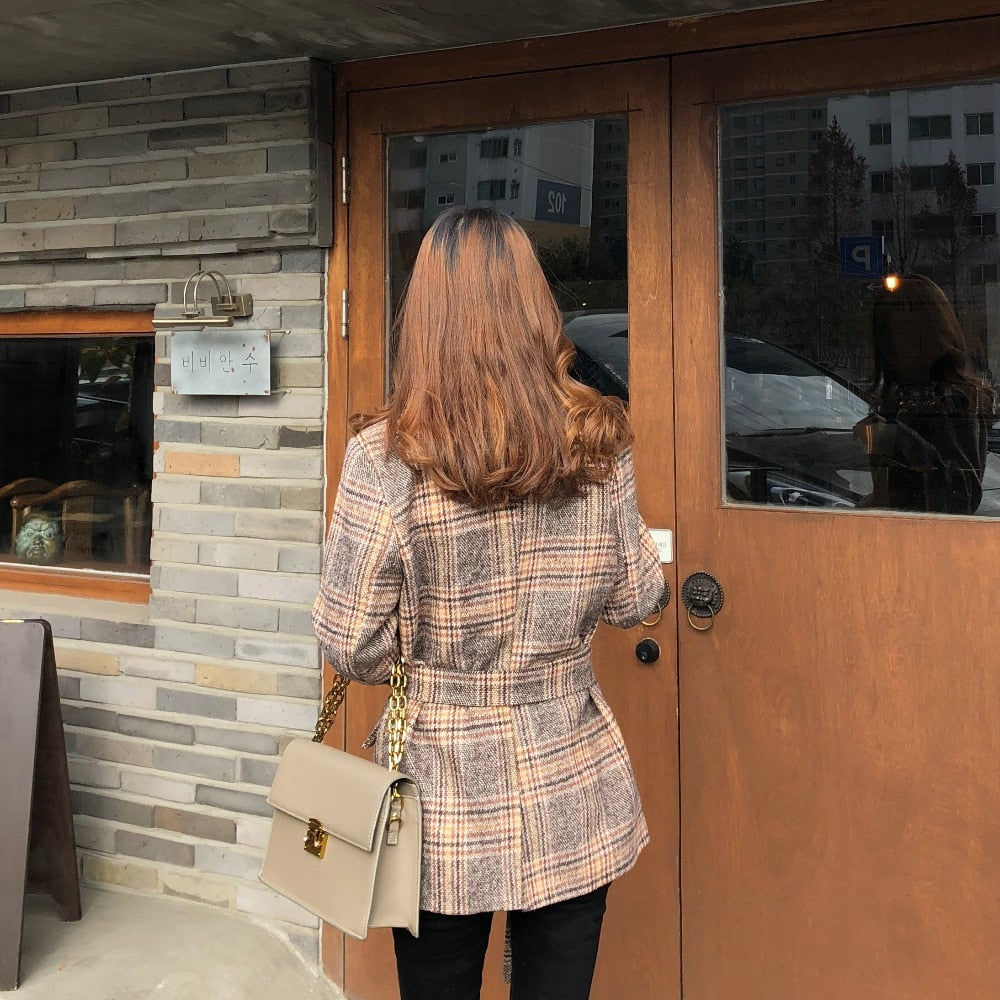 Vintage Plaid Belted Coat