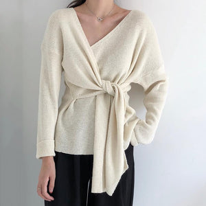 Bow Tie V-neck Knitted Sweater