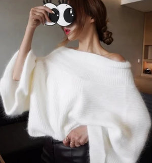 Off Shoulder Knitted Sweater White