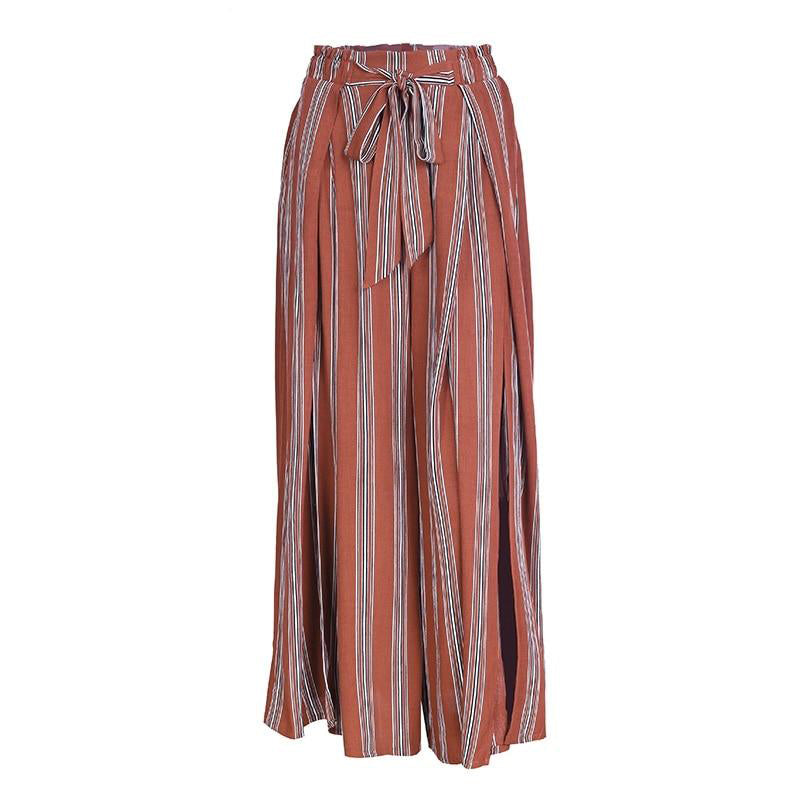 High Waist Wide Leg Slit Pants