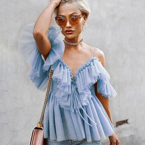 Julia Tulle Off Shoulder Ruffle Top | Baby Blue