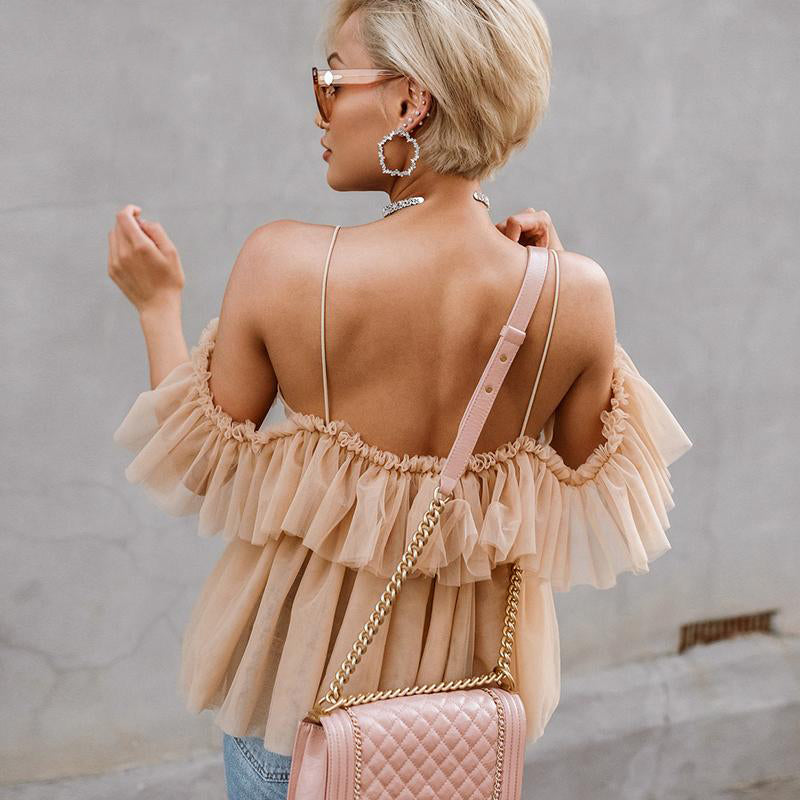 Julia Tulle Off Shoulder Ruffle Top | Nude