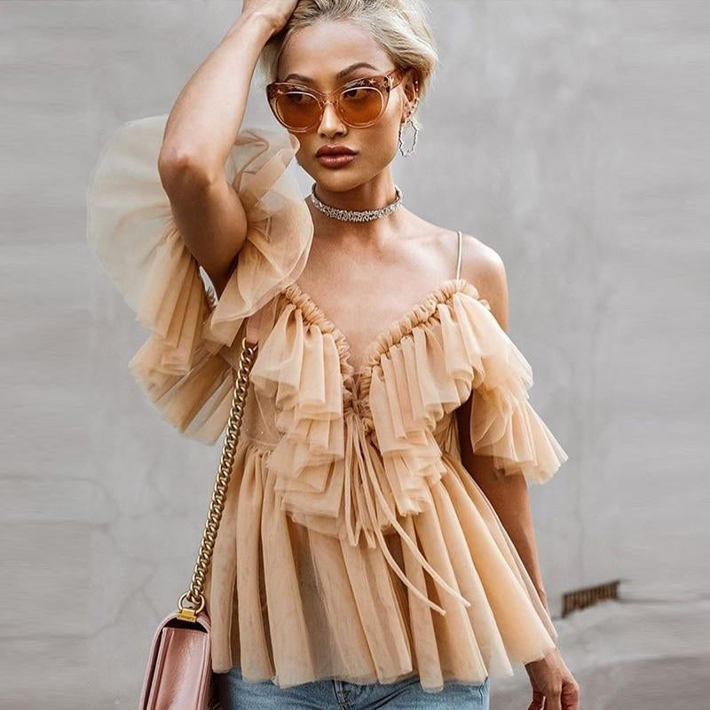Julia Tulle Off Shoulder Ruffle Top | Dusty Pink