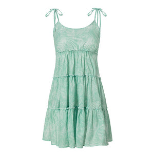 Leafy Ruffle Layer Strap Mini Dress