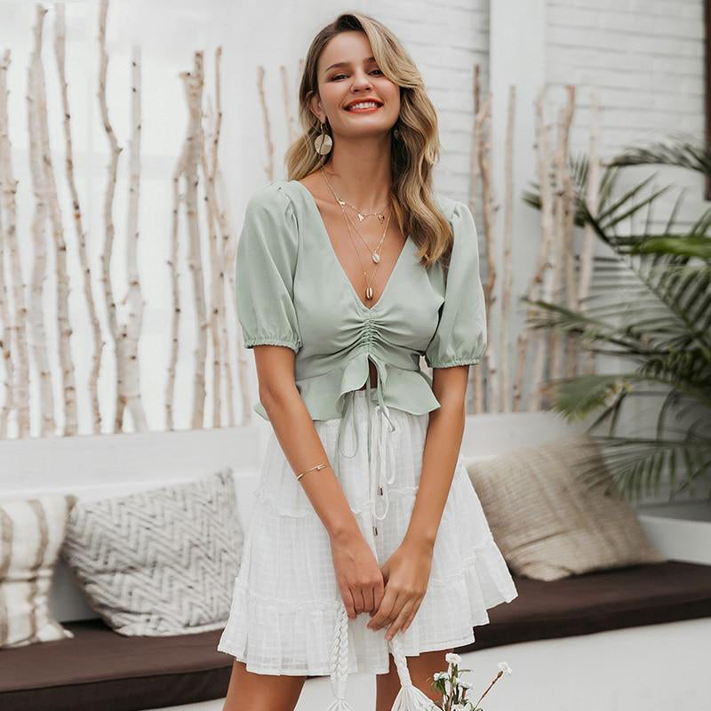 Minty Green Lace Up Ruched Top