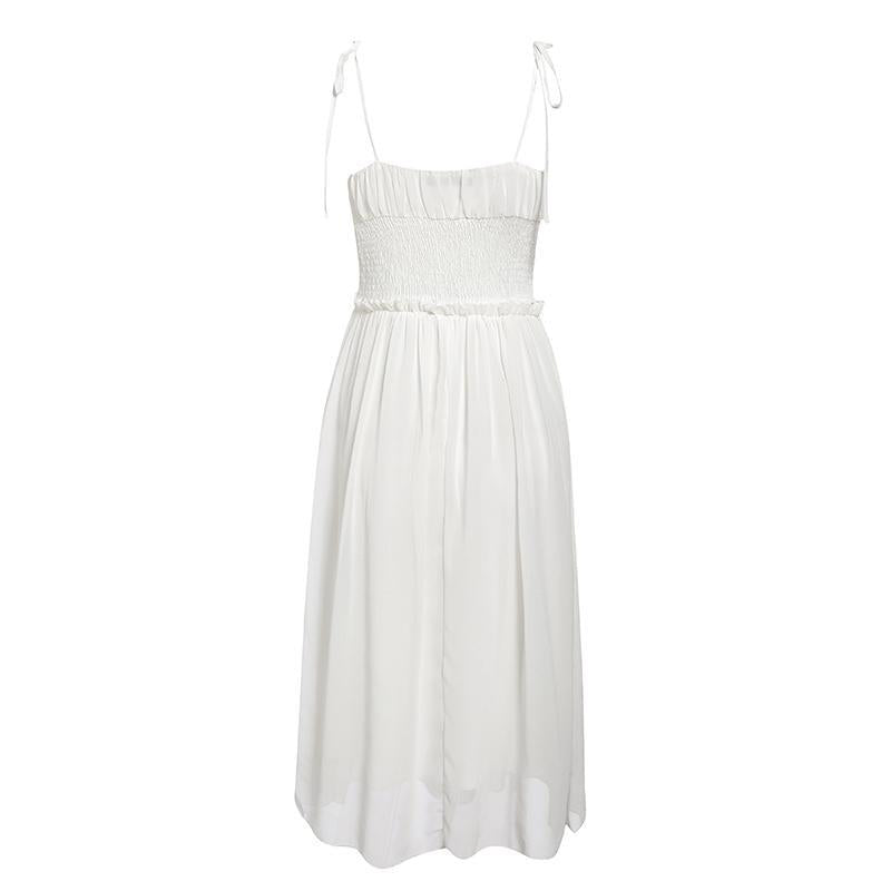 Shoulder Tie Ruched Bust Chiffon Dress