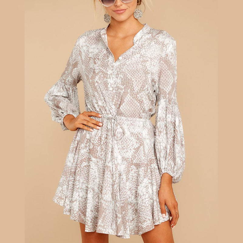Trapeze Shirt Dress - Snake Print