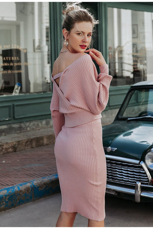 V-Neck Knitted Skirt Set 2 Pieces