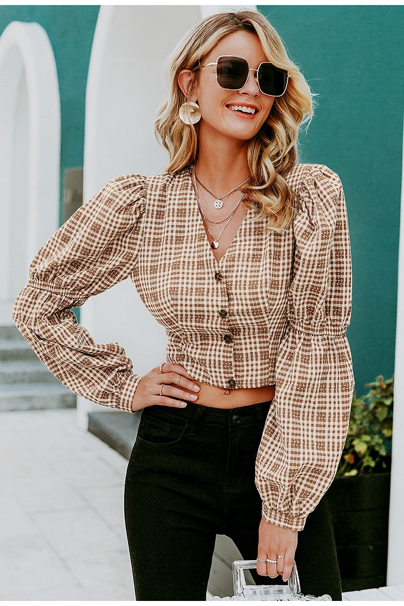 Plaid Backless Crop Top