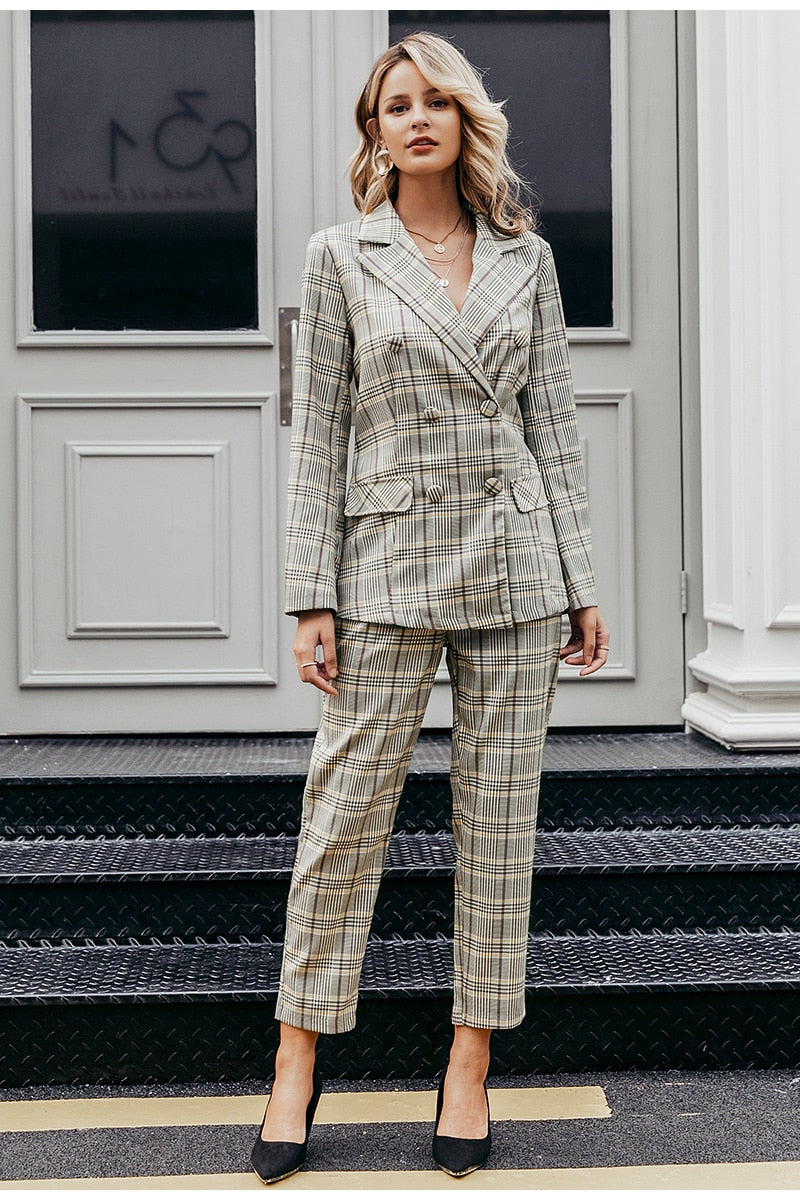 Plaid Double Breasted Blazer Suit Set
