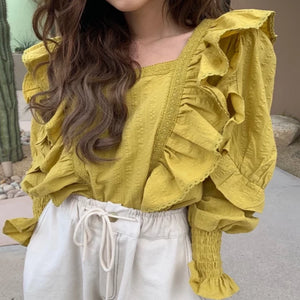 Square Collar Ruffles Blouse