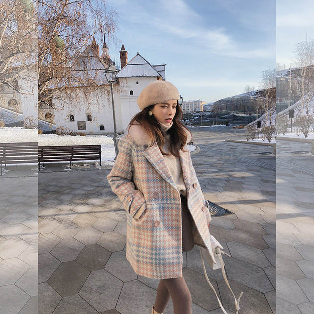 PinkyBlue Plaid Pea Coat | Detachable Collar