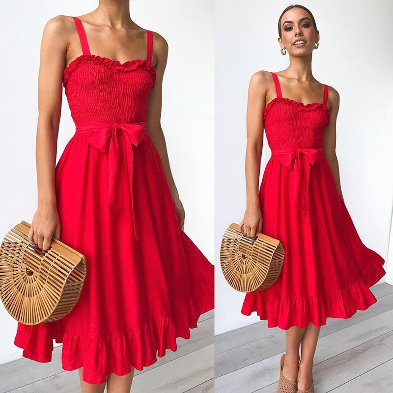 Ruffled Strap V-Neck Dress - 3 Colors