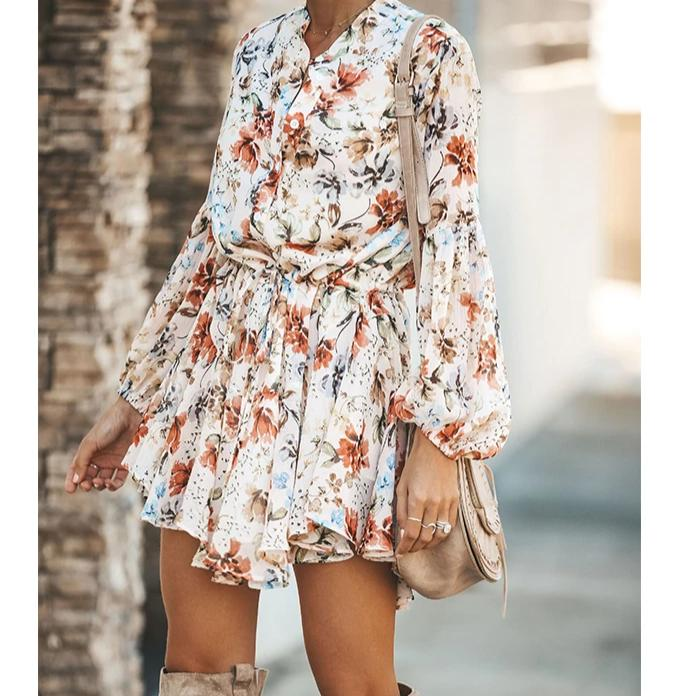 Plum Blossom Trapeze Shirt Dress