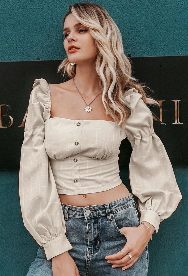 Ruffle Puff Shoulder Crop Top