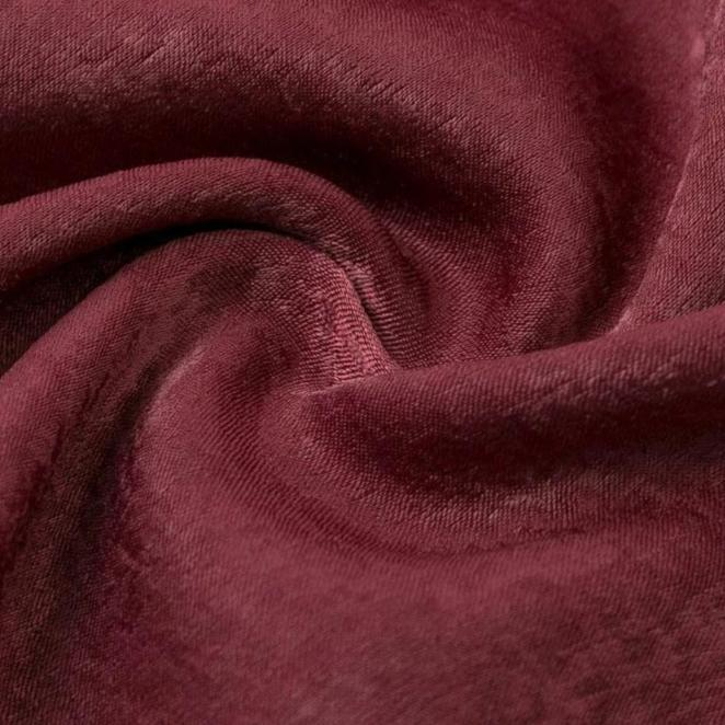 Wine Red Twist Front Ruffle Dress