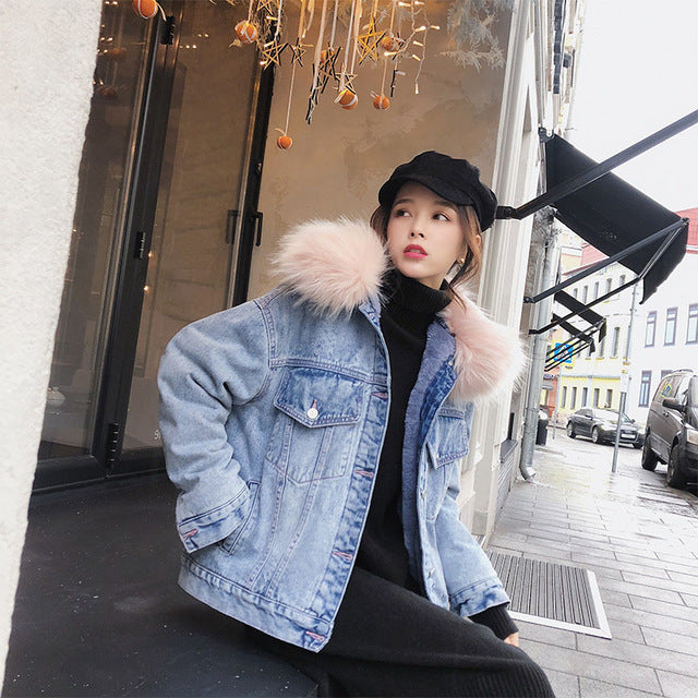 Denim Faux Fur Lining Jacket