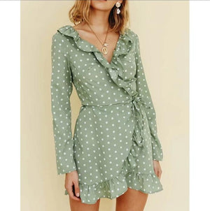 Kelly Green Polka Dot Ruffle Dress