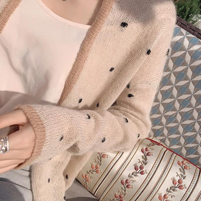 Lady Dot Knit Thin Cardigan