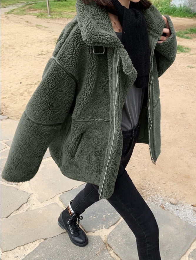 Fleece Oversized Biker Jacket