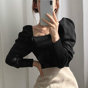 Puffed Shoulder Knitted Top