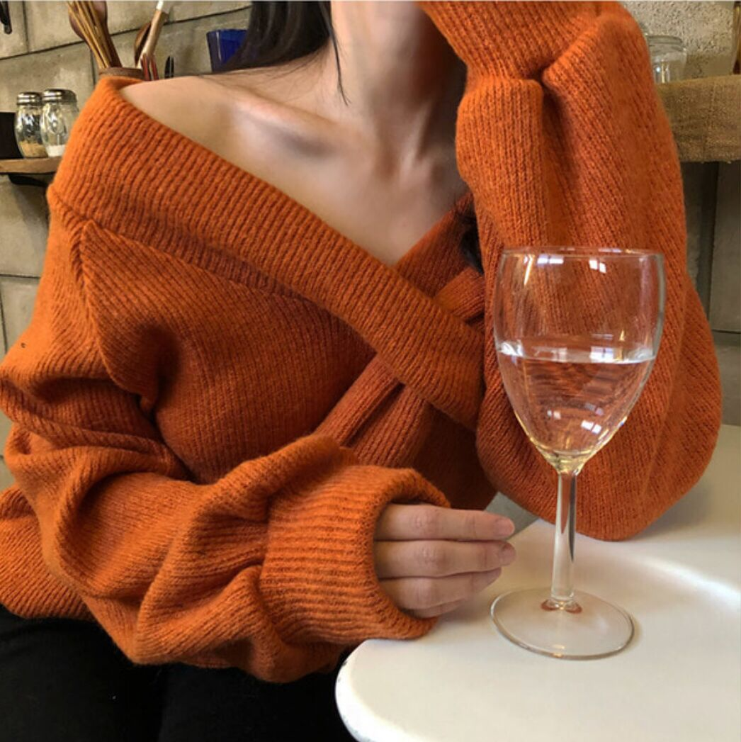 Front Cross Off Shoulder Sweater