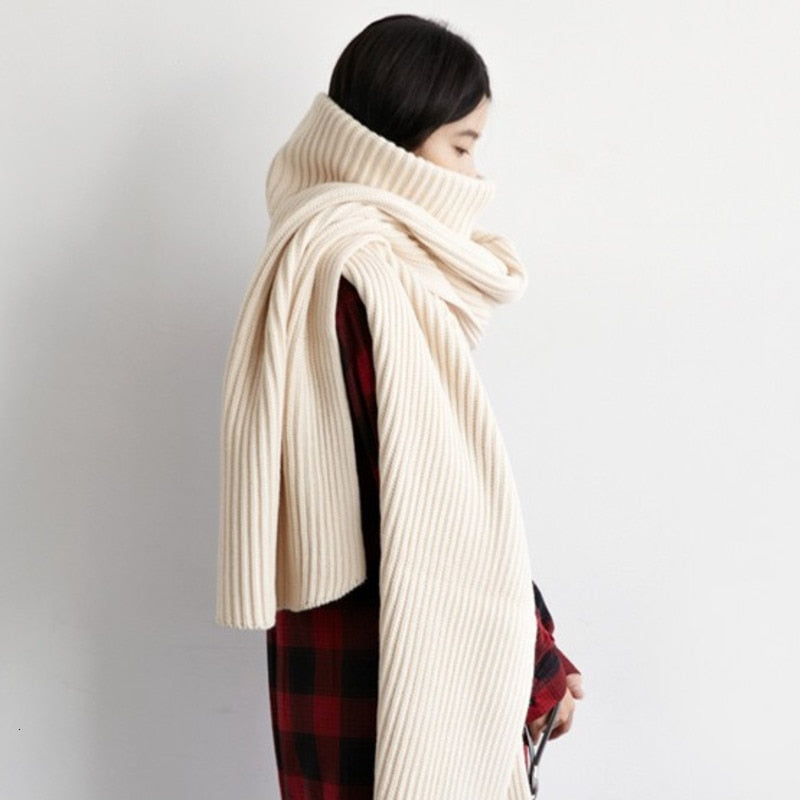 Turtleneck Pullover Sweater Scarf